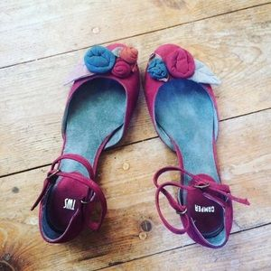- Camper twins suede ankle wrap burgundy flats 8